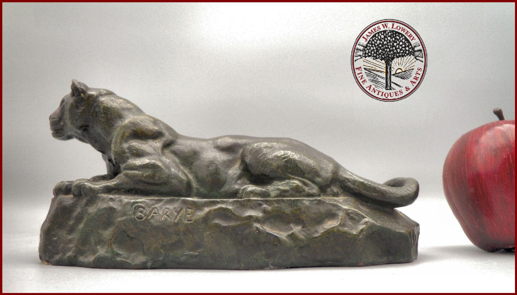 Antoine Louis Barye Bronze Recumbent Panther American